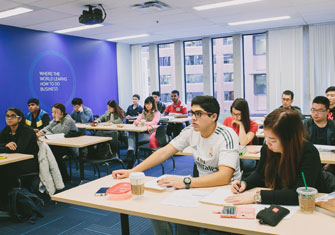 Students studying to receive their international business degree